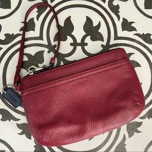 Coach Park Leather Medium Wristlet Burgundy Red
